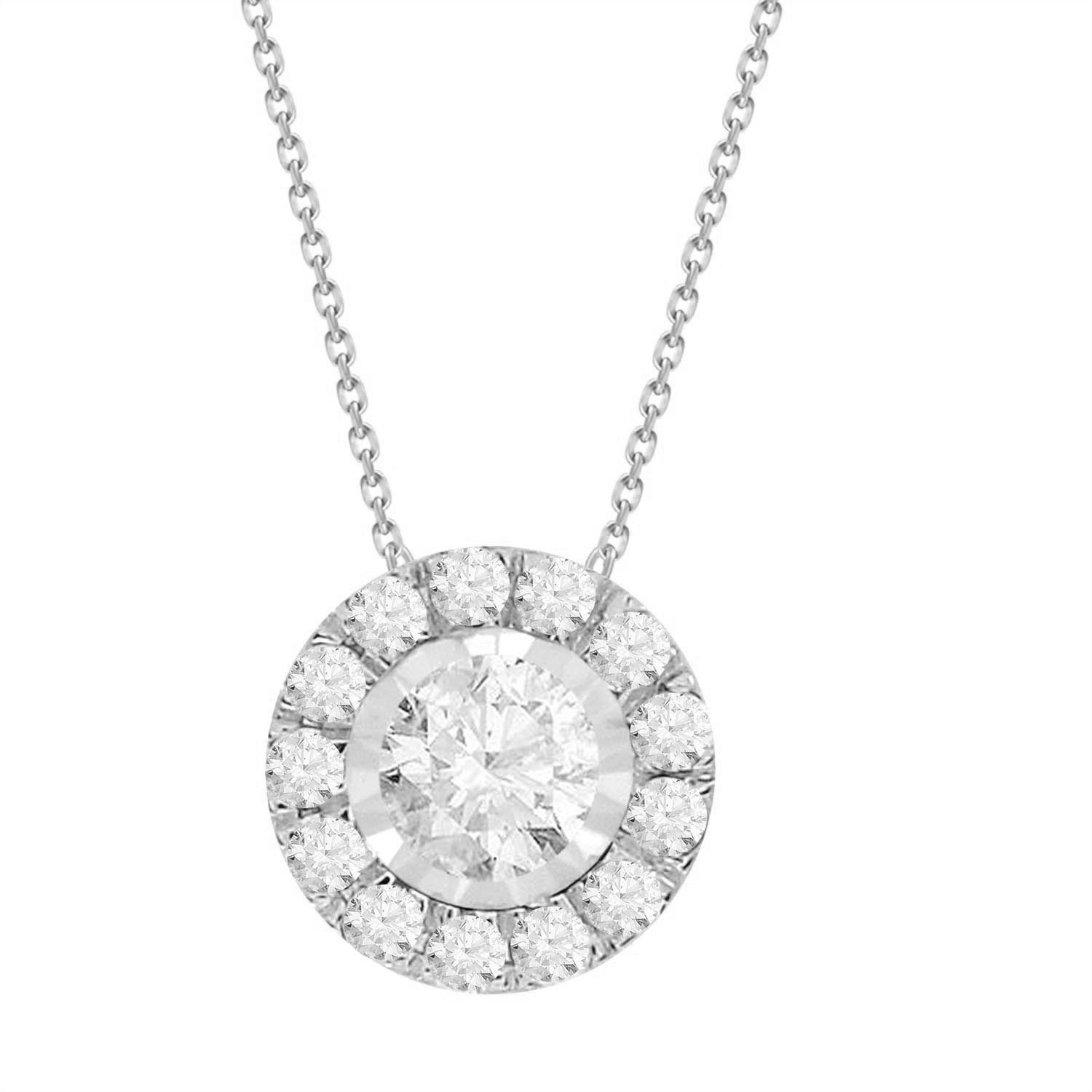 Diamond round shaped halo necklace unison mozeypictures Image collections