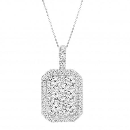 Diamond Rectangle shaped Illusion Necklace