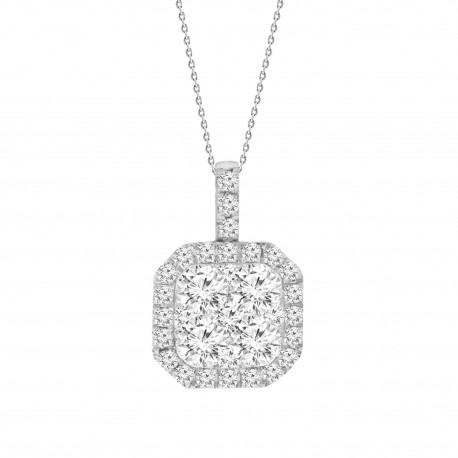 Diamond Square Shaped Illusion Necklace