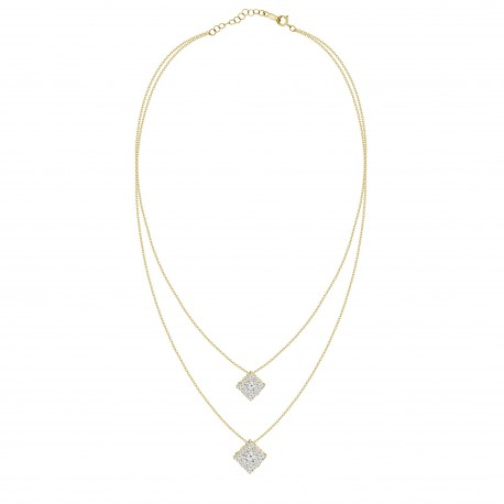 Diamond Square Pressure Setting 2 layer Necklace
