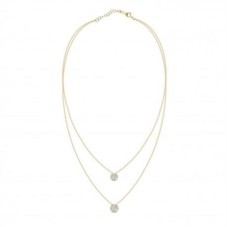Diamond Round Pressure Setting 2 layer Necklace