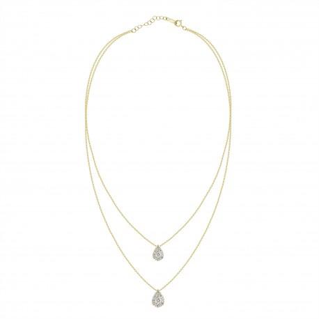 Diamond Pear Pressure Setting 2 layer Necklace