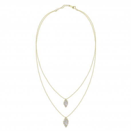 Diamond Marquise Pressure Setting 2 layer Necklace