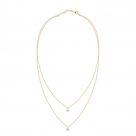 0.4ct Laser Hole Diamond 2 Layer Necklace
