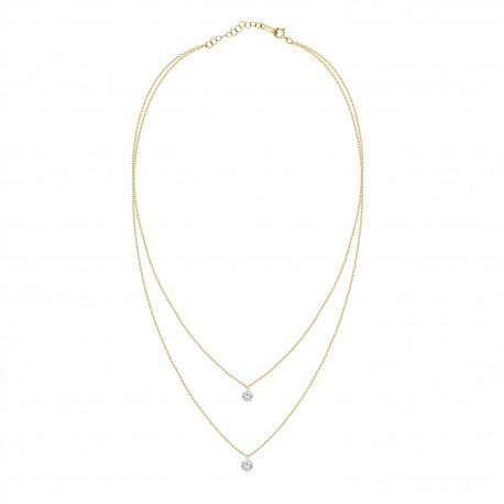 0.25ct Laser Hole Diamond 2 Layer Necklace