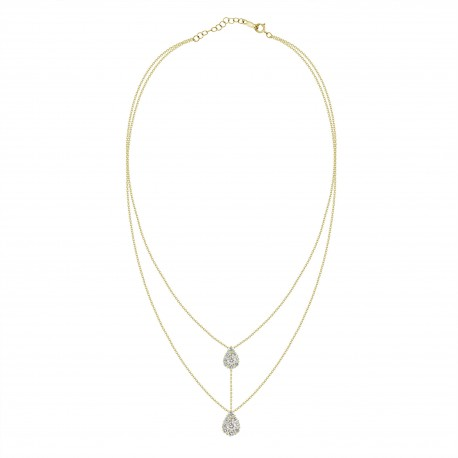 Diamond Connected Pear Pressure Setting 2 layer Necklace