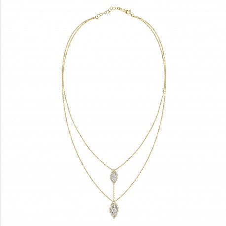 Diamond Connected Marquise Pressure Setting 2 layer Necklace
