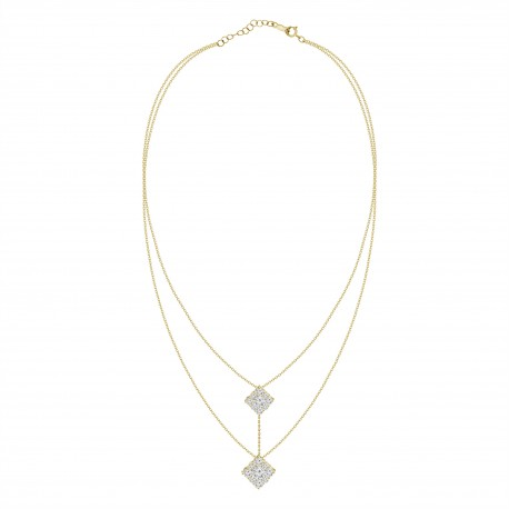 Diamond Connected Square Pressure Setting 2 layer Necklace