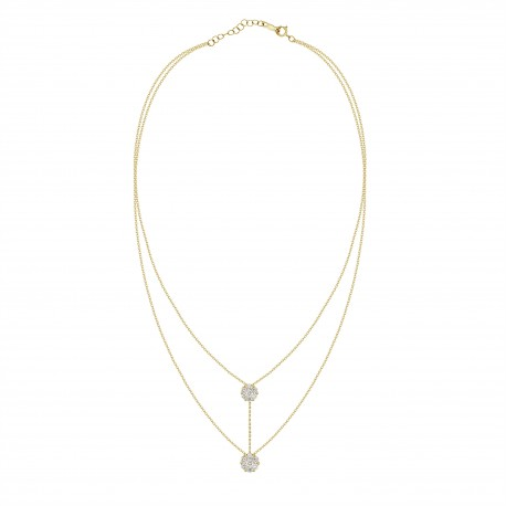 Diamond Connected Round Pressure Setting 2 layer Necklace
