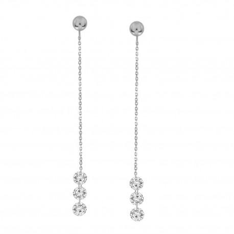 3 Laser Hole Diamond  Chain Drop Earring