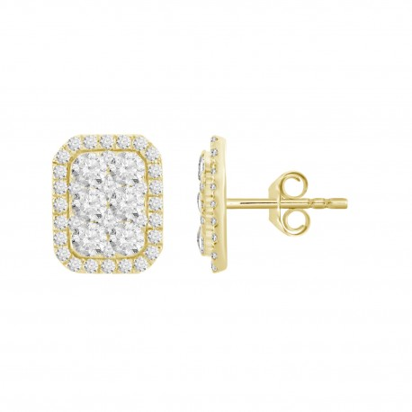 Diamond Rectangle shaped Illusion Earring