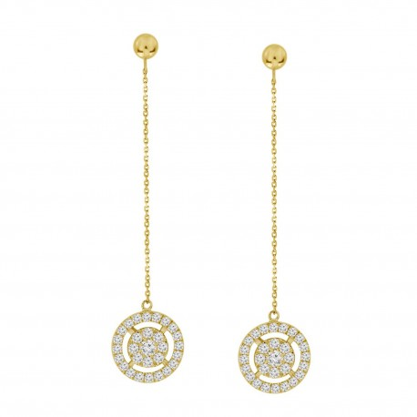 Diamond Round Illusion chain drop Earring