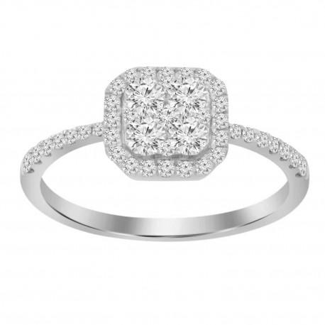 Diamond Square shaped Illusion Ring