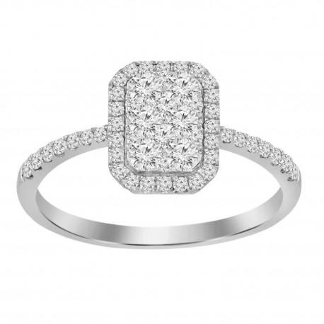 Diamond Rectangle shaped Illusion Ring