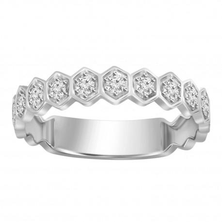 Diamond Stackable Hexagon Ring