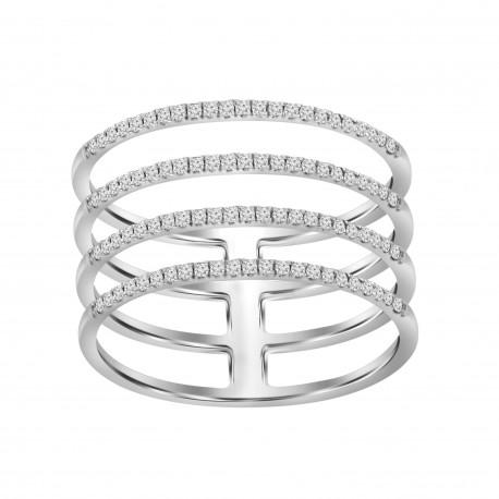Diamond Line 4 Row Ring