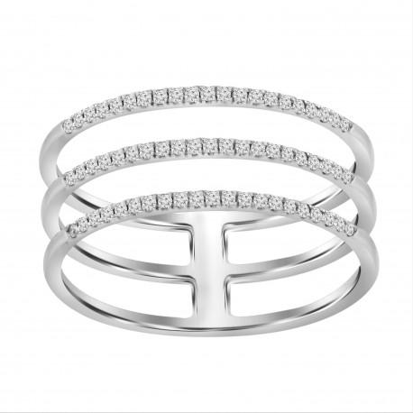 Diamond Line 3 Row Ring