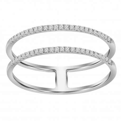 Diamond Line 2 Row Ring