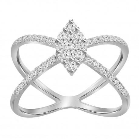 Diamond Marquise Pressure Setting X Ring