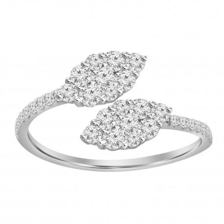 Diamond Marquise Pressure Setting Open Ring
