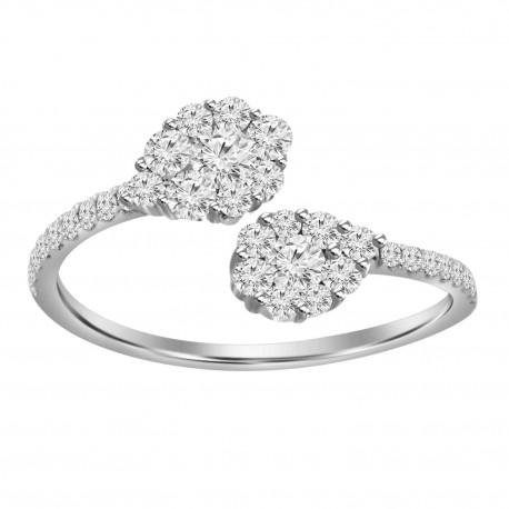 Diamond Pear Pressure Setting Open Ring