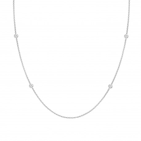 Laser Hole Diamond Layered Necklace(Medium)