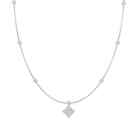 Diamond Square shaped Fashion Necklace