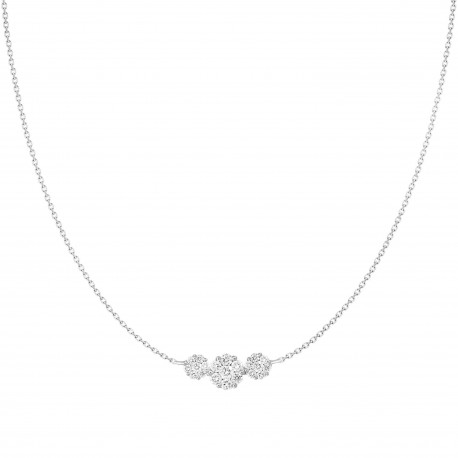 Diamond Round Pressure Setting Trilogy Necklace(Small)