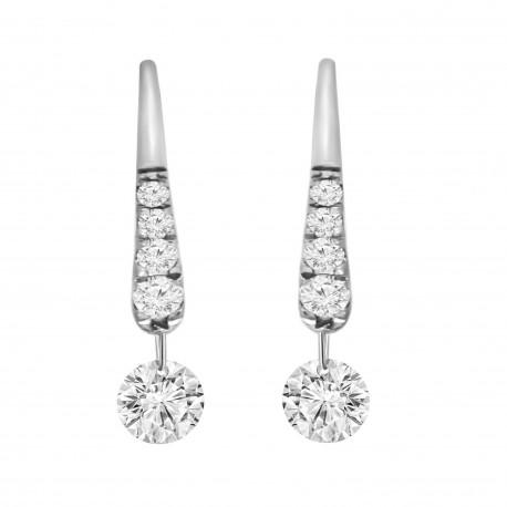 Laser Hole Diamond Hook Earring(with Diamond)