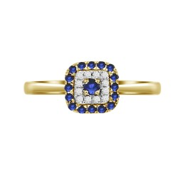 Sapphire/Diamond Square shaped Ring