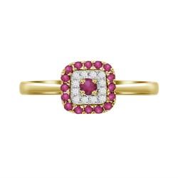 Ruby/Diamond Square shaped Ring