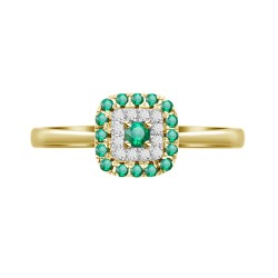 Emerald/Diamond Square shaped Ring