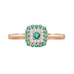 Emerald/Diamond Square shaped Ring