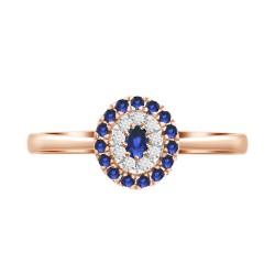 Sapphire/Diamond Oval shaped Ring