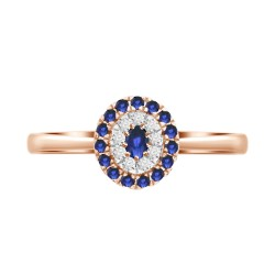Sapphire/Diamond Oval shaped Ring
