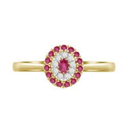 Ruby/Diamond Oval shaped Ring