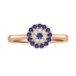 Sapphire/Diamond Round shaped Ring