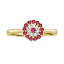 Ruby/Diamond Round shaped Ring