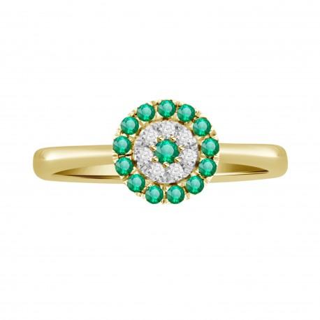 Emerald/Diamond Round shaped Ring