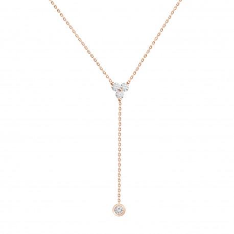 Diamond Trio Y-Knot Necklace