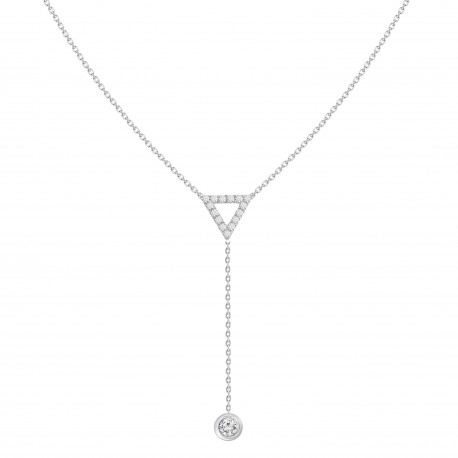Diamond Triangle Y-Knot Necklace