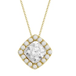 Diamond Square shaped Halo Necklace