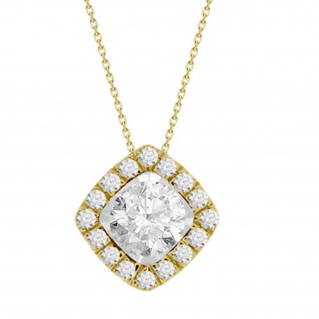 Diamond Square shaped Halo Necklace