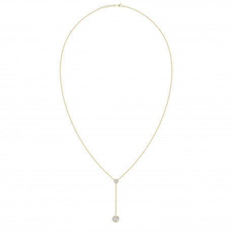 Diamond Round shaped Y-Knot Necklace