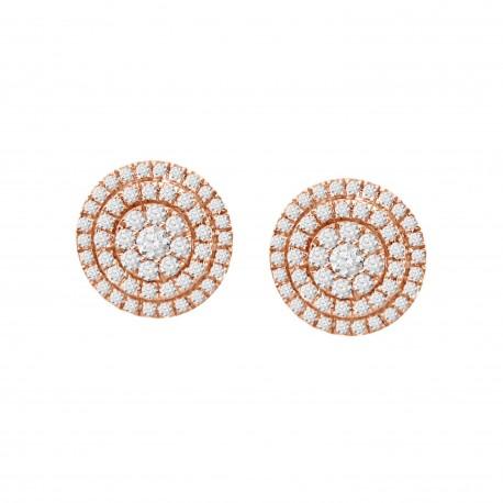 Diamond Round Illusion 2 Row Earring