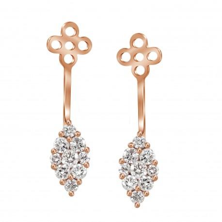 Diamond Marquise shaped Jacket Earring