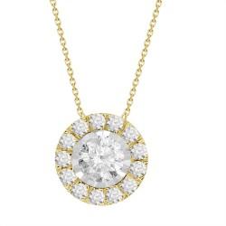 Diamond Round shaped Halo Necklace