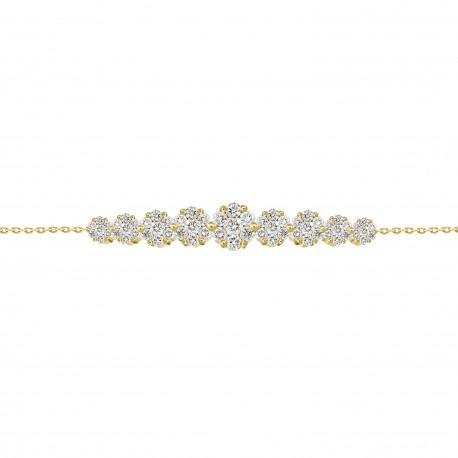 Diamond 9 Round Pressure Setting Bracelet