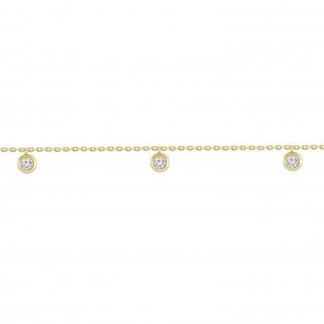 5 Diamond Dangling Bezel Station Bracelet