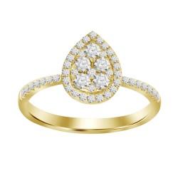Diamond Drop Shaped Illusion Ring